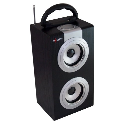 Axess SP1001-SL Music Box Speaker Includes FM Stereo, USB/Line-In Inputs, Remote Control, Rechargeable Battery (Silver)