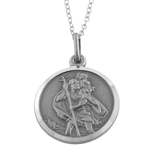 Oxidized Sterling Silver St. Christopher Medal on Cable Chain (18 inch)
