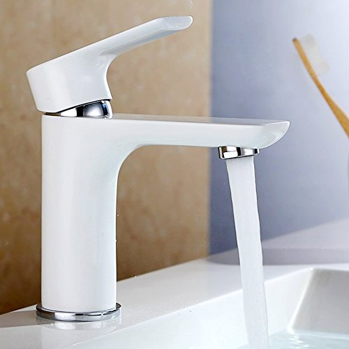 Dailyart Stylish White Finish Basin Mixer Faucet Bathroom Sink Tap, Solid Brass