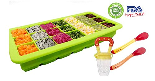 HEALTHY homemade Baby food kit: 21 portions storage container tray / Freezer (with lid) with a Feeder and 2 heat sensitive spoons
