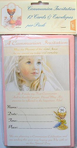 Girls First Holy Communion invitation cards with envelopes - 12 pack