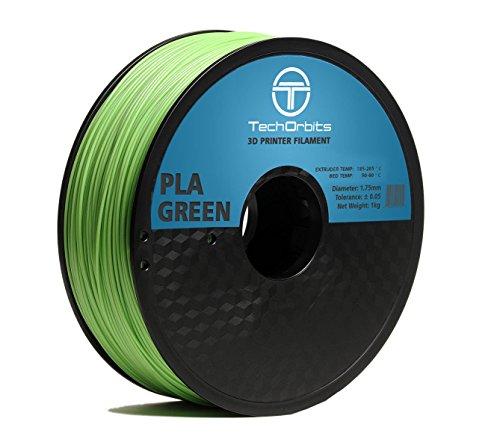 TechOrbits 3D PLA-1KG1.75-Green PLA 3D Printer Filament, Dimensional Accuracy +/- 0.05 mm, 1 kg Spool, 1.75 mm, Green
