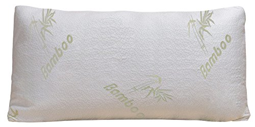 Bamboo Pillow - Firm Shredded Memory Foam - Stay Cool Removable Cover With Zipper - Hotel Quality Hypoallergenic Pillow Relieves Snoring, Insomnia, Asthma, Neck Pain, TMJ, and Migraines (Queen)