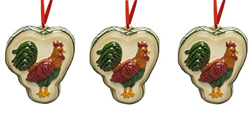 3 Piece Set Rooster Wall Ornament Rooster Christmas Tree Ornament, Home:6