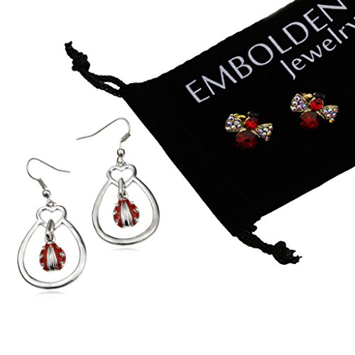 Silver Insects Earrings Set in Multi Colored Studded Crystals Red Cubic Zirconia Bee and Fish Hook Tear Drop Shape Beetle Inside