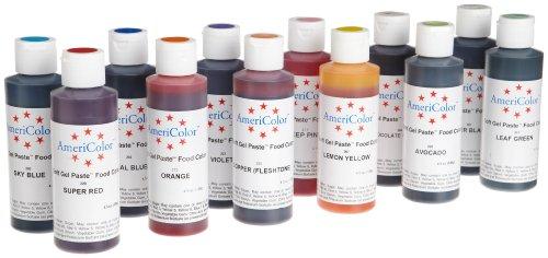 AmeriColor Set of 12 Soft Gel Paste Food Color 4.5 Ounce Bottles