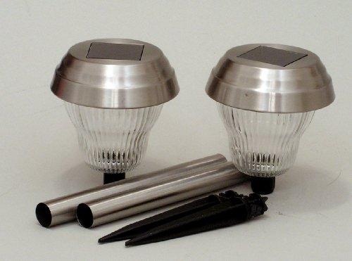 Solar Powered 2 Piece Pathway Light Set, Brushed Nickel