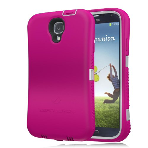 [180 Days Warranty] Zerolemon Hot Pink / Gray Zero Shock Series for Samsung Galaxy S4 S Iv I9500 - Covers All Battery Sizes - Worlds Only Universal Form Fitting Case. Rugged Hybrid Case Includes Built in Screen Protector, Belt Clip and Kickstand Usa Patent Pending