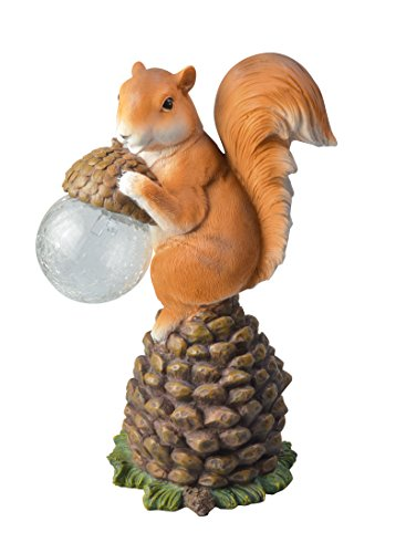 Moonrays 91536 Solar Powered Color-Changing LED Light Squirrel Statue