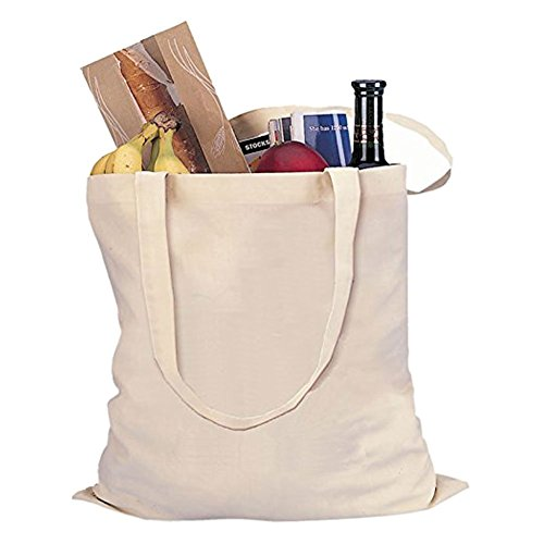 2 Pack Canvas Shopping Tote Bag Shoulder Bags, Anseahawk Machine Washable Natural Cotton Reusable Grocery Bags Handle Eco Bag with Handles