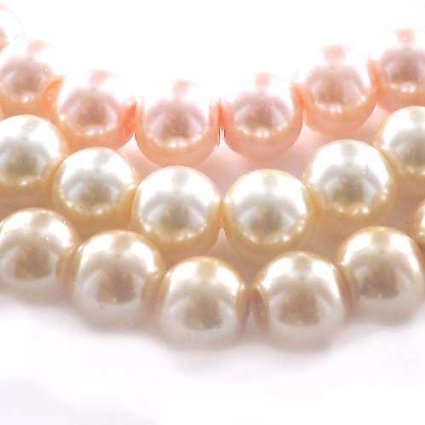 eCrafty EC-5498 Mega Mix of Glass Pearls, 8mm, Champagne/Pale Peach/Pink