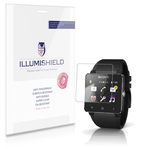 iLLumiShield - Sony Smartwatch 2 Screen Protector Japanese Ultra Clear HD Film with Anti-Bubble and Anti-Fingerprint - High Quality (Invisible) LCD Shield - Lifetime Replacement Warranty - [3-Pack] OEM / Retail Packaging