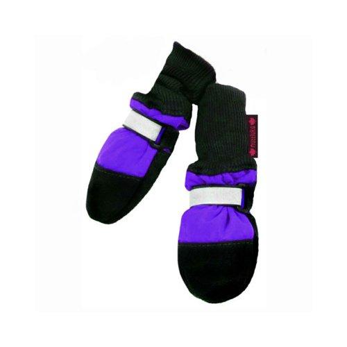 Muttluks Fleece Lined 3.25-Inch to 3.75-Inch Dog Boots, Medium, Purple, Set of 4