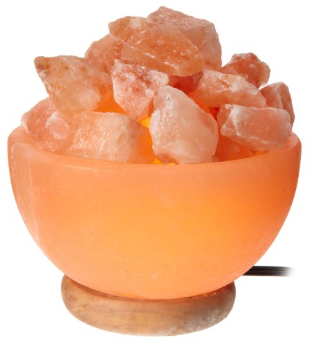 WBM 1326 1326 6-Inch 15-Watt Round Bowl Lamp with Himalayan Natural Crystal Salt Chunks, Pink