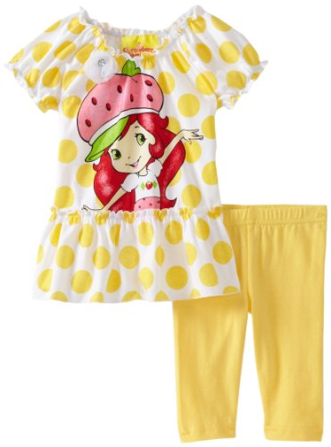 Strawberry Shortcake Baby Girls' 2 Piece Polka Dot Legging Set, Yellow, 12 Months
