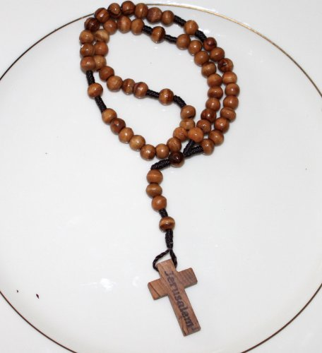 1 X Original Jerusalem Olive Wood Rosary from the Holy Land in a Cellophane Pouch