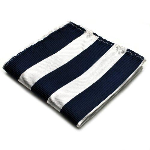 PenSee 100% Silk Woven Navy & White Stripe Pocket Square