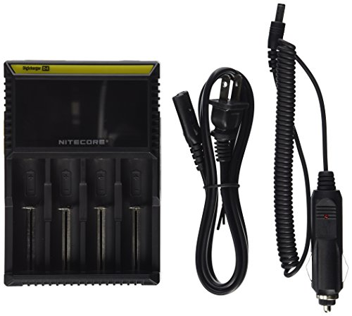 NITECORE D4 (New 2015 version) Intellicharge universal smart battery Charger with ELECCESSORY(TM) CAR CHARGER For Li-ion / IMR / Ni-MH/ Ni-Cd 26650 22650 18650 18490 18350 17670 17500 17335 16340 RCR123 14500 10440 AA AAA AAAA C types