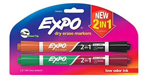 Expo Dry Erase 2-in-1 Markers, Chisel Tip, Assorted, 2-Pack (1944654)