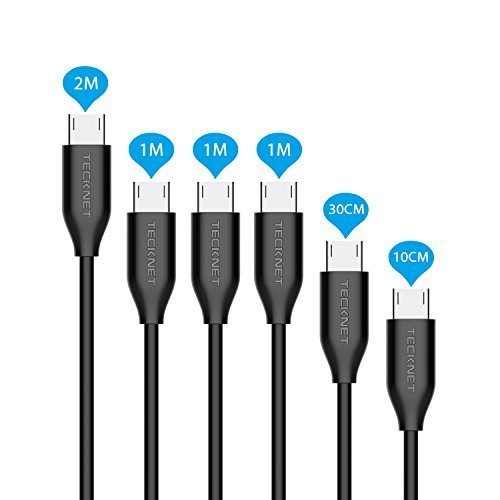 Micro USB Cable, TeckNet [6-Pack] Premium Micro USB Cables in Assorted Lengths (1M, 2M, 0.1M, 0.3M) High Speed USB 2.0 A Male to Micro B Sync and Charge Cables (Black)