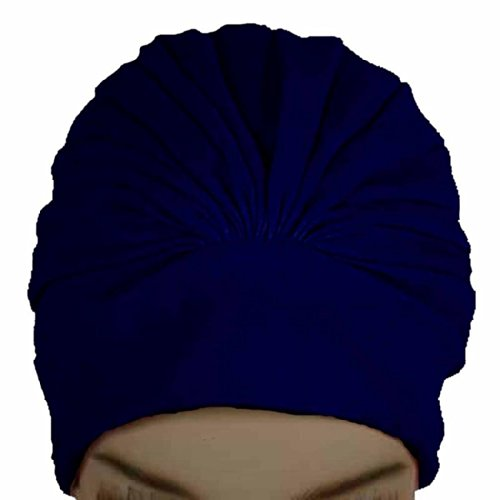 Polyester Latex Lined Pleated Women's Swim Bathing Turban - Navy
