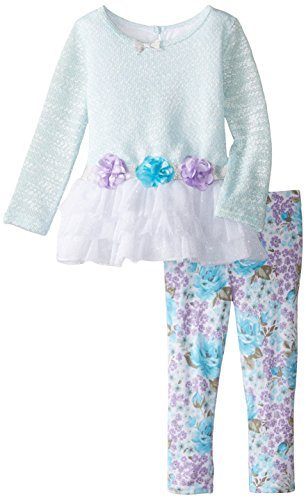 Sweet Heart Rose Girls' Novelty To Tiered Glitter Mesh Dress with Legging Set
