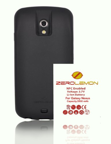 [180 days warranty] ZeroLemon Samsung Galaxy Nexus 5900mAh Extended Battery + Black Full Edge Wrap TPU Case (Compatible with Verizon SCH-i515 / Sprint SPH-L700 ONLY) **WORLD'S HIGHEST CAPACITY GALAXY NEXUS BATTERY** (ZL-i515-black-5900)