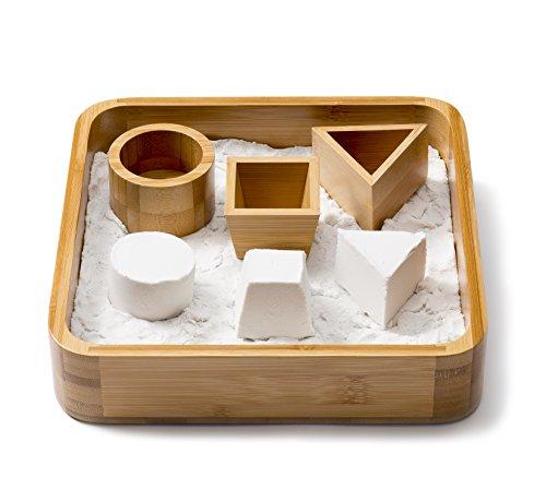 Sand Tray Set - Bamboo Executive Sandbox, 3 Sand Molds and 1 lb Play Sand