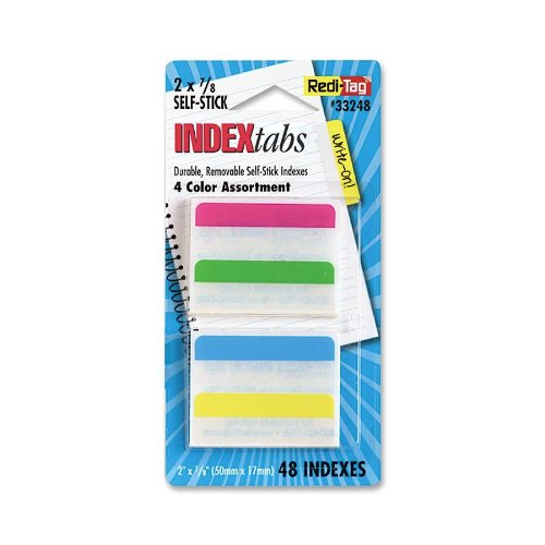Redi-Tag-Write-On Removable Index Tabs, 2 X 11/16-Inch, 48 Per Pack, 4 Assorted Colors-33248
