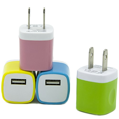 Eversame 4 Packs USB AC/DC Full 1.0A Universal Home Travel Power Charger Adapter For iPhone 6/6 Plus/5s/4s iPod Touch Samsung Galaxy S5/4 Note 4/3 HTC One M8 LG G3 Nokia and Most Android Phones-12-month Warranty (Yellow Green Blue Baby pink)