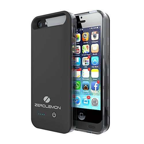 iPhone 5/5s Battery Case,ZeroLemo iPhone 5/5s Ultra Slim Juicer External Protective Battery Case - [MFI Apple Certified] 2400mAh Capacity (Fits All Versions of iPhone 5/5s)-[180 days Warranty Guarantee]-Black