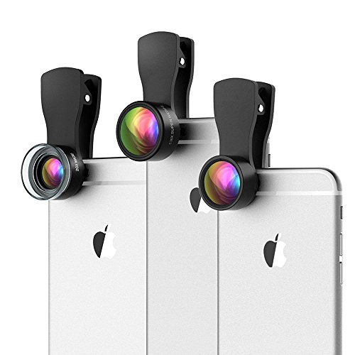 VicTop Clip-on Phone Camera Lens kit, 180 Fisheye Lens + 20X Macro Lens + 0.36X Wide Angle Lens for iPhone iPad Android Smartphones