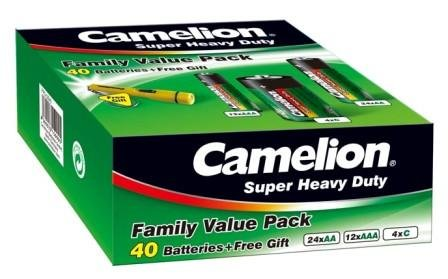 Camelion Super Heavy Duty Green Batteries Family Pack 40