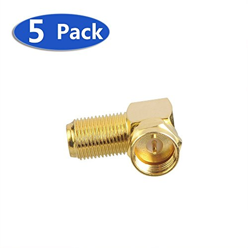 VCE (5-Pack) Gold Plated Right Angle F-Type Coaxial RG6 Adapter