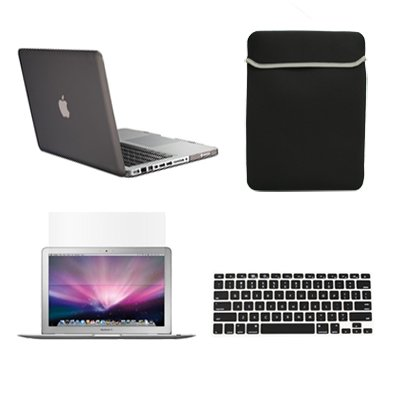 TopCase Rubberized Hard Case Cover for Macbook Pro 13-Inches A1425 and A1502 Bundled with Matching Color Soft Sleeve Bag, Silicone Keyboard Cover, LCD Clear Screen Protector with Mouse Pad