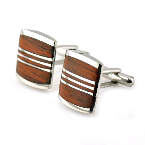 PenSee Rare Stainless Steel & Red Wood Cufflinks for Men with Gift Box