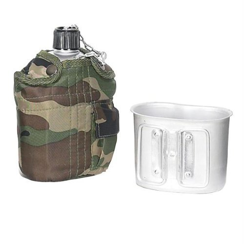 Joy Enterprises FP13627 Fury Mustang G.I. 1 Quart Canteen with Aluminum Cup, Camo Nylon Cover with Pocket