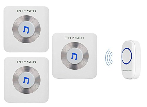 Physen Music Style Wireless Doorbell kit with 1 Push Button and 3 Plugin Receivers Operating Range at 1000ft,52 Melodies Chimes,No Battery Required for Receiver