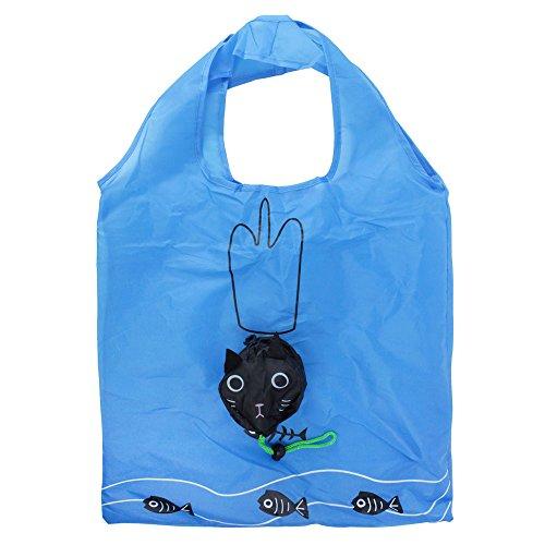 niceEshop(TM) Eco Shopping Bag Foldable Cat, Blue and Black