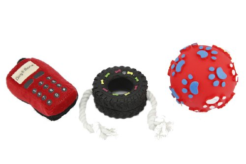 Yabber® Red Squeak Dog Toy Set of 3 Squeak Ball Red Cellphone Plush Chew Black Tire Rope Fetch Retrieve Toy