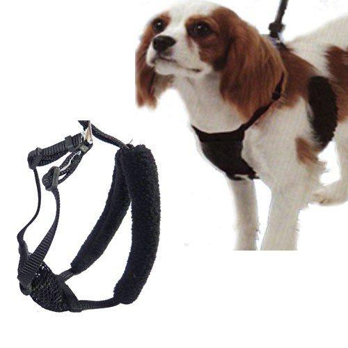 L/XL Black Anti-Pull Mesh Dog Harness Fits Necks 16-26