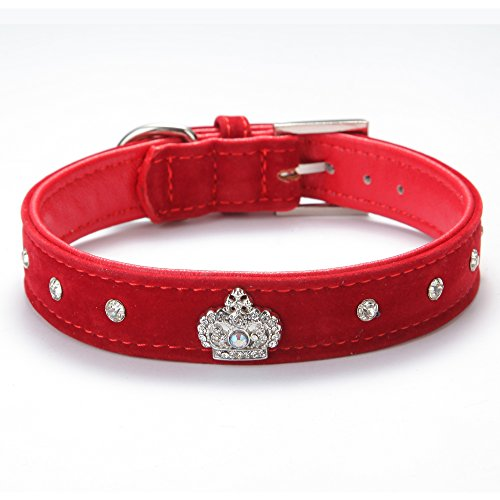BingPet BA2022X Cute Designer Rhinestone Dog Collars with Diamond Crown for Puppy Pet