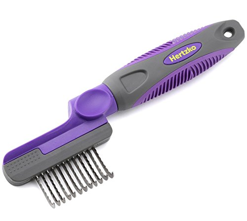 Rounded Blade Dematting Comb By Hertzko - Round Long Blades with Safety Edges - Great for Cutting and Removing Dead, Matted or Knotted Hair