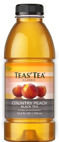 Teas' Tea Country Peach Black Tea, 16.9 Ounce Bottles (Pack of 12)