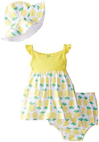 Gerber Baby Girls' 3 Piece Pineapples Dress Set, Yellow, 3-6 Months