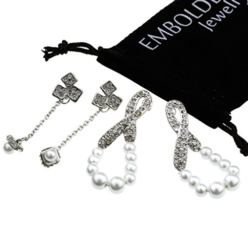 Charm Silver Dangle Drop Earrings Set in Infinity Teardrop Shape and Tassle Studded Crystals and Pearls