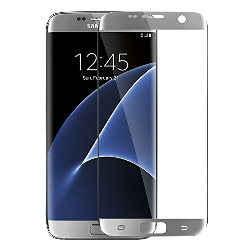 Galaxy S7 Edge Screen Protector, TJS® [Full Coverage Premium Tempered Glass] 0.008 Ultra Thin HD Clear/9H Hard/2.5D Curved Screen Protector for Samsung Galaxy S7 Edge (2016) - Silver