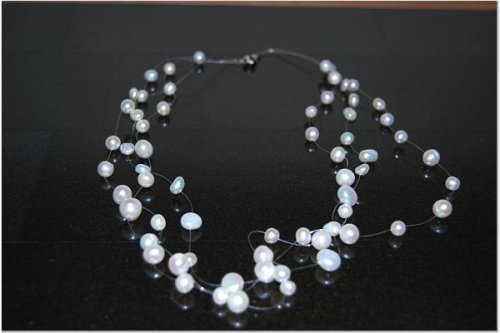 3 Strand Freshwater Pearl Illusion Necklace