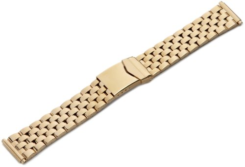 Hadley-Roma Men's MB5175RY SQ 22 22-mm Gold Stainless Steel Wrapped Watch Strap