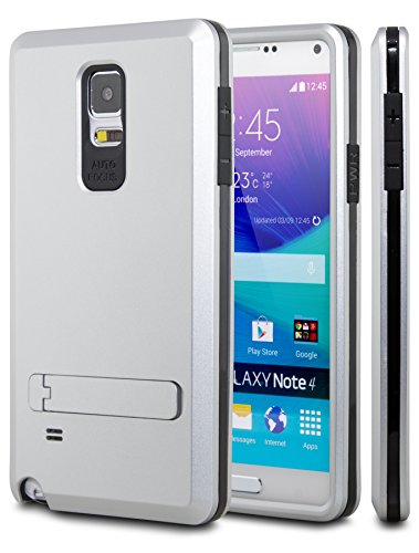 Note 4 Case, Galaxy Note 4 Case, CASE ACE(TM) Heavy Duty Rugged Triple Layer Case with Kickstand For Samsung Galaxy Note 4 (Silver)